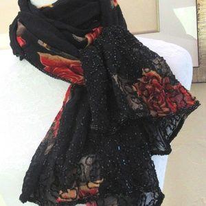 "Black beaded wrap red orange roses 62"" shawl scarf"
